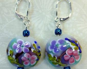 Handpainted Multi Colored Floral Lampglass Beads Dangle Earrings