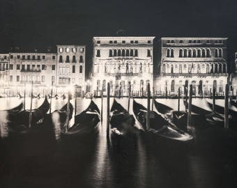 Italian Holiday, 'Venice Nights #1' Limited Edition, Image Transfer on Wood Panel by Patrick Lajoie, photo art block, italy photography