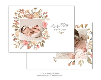 BA7 :. Birth Announcement template | Roses Watercolor