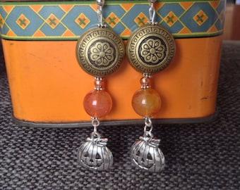 Long Halloween Pumpkin Charm Bead Dangle Handmade Earrings