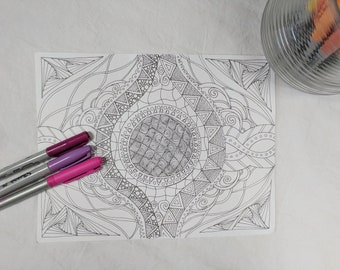 Eye of the Beholder Digital Download Coloring Page Zentangle ZIA