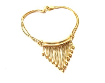 Monet Signed Chunky Vintage Gold Tone Metal Chain Fringe Dangle Extendable Choker Necklace