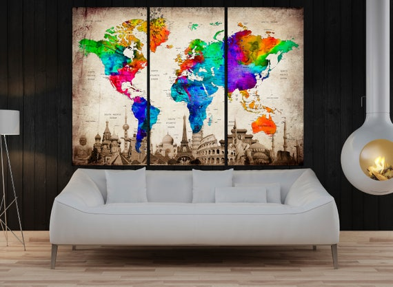 3 panel push pin world map wall art canvas framed art print gumiabroncs Gallery
