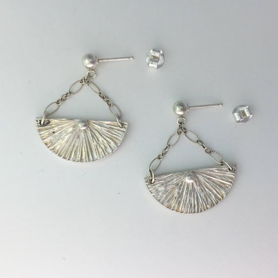 Handmade Silver Earrings, Fan Shape Silver Earrings, Sterling Silver Artisan Earrings, Half Circle Dangle Earrings, Dangle Stud Post Earring