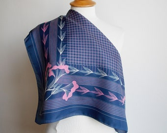 Vintage scarf, blue neckerchief, pink flowers, blue & pink scarf, vintage headscarf, kerchief, flowered square scarf, small tablecloth.