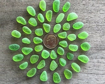 Genuine Beach Sea Glass -  44 Lime Green Sea Glass Gems - Tiny to Small Size  - A24