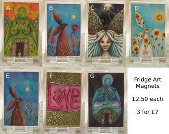 Fridge Art Magnet, Refrigerator Magnet, Large Magnet, Stocking Stuffer, Pagan Gift, Goddess Gift, Moongazing Hare, Pagan Art, Small Gift