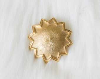 Vintage Signed TRADITION Gold Sun 70s Brooch