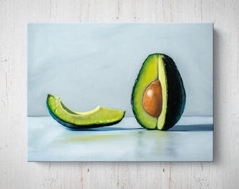 Avocado Slice - Oil Painting Giclee Gallery Mounted Canvas Wall Art Print