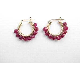 July Birthday ~ Small Ruby Hoop Earrings ~ 14K Gf Hoop Earrings ~ Natural Ruby Earrings ~ Gift for Her ~ Simple Modern Jewelry