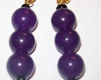 Amethyst gemstone beaded dangle earrings.