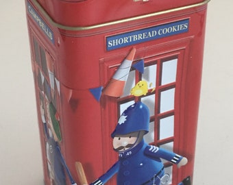 Vintage Campbells shortbread tin. Advertising tin for Scottish shortbread by CAMPBELLS. Campbells telephone booth shortbread tin.