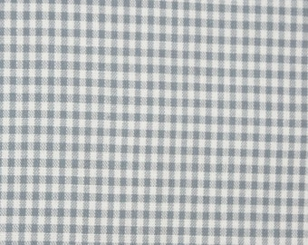 Light grey white cotton fabric 2mm squared small - Vichy Karo