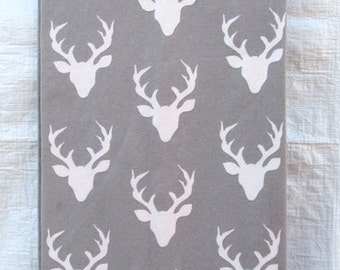 Gray White Deer Stag Antlers Stretchy Cotton Jersey Knit Infinity Scarf
