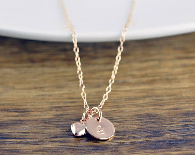 Initial Heart Necklace - Personalized Necklace - Bridesmaid Gift - Bridesmaid Jewelry - Initial Necklace - Rose Gold Initial Necklace