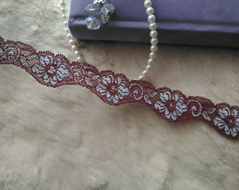 3yds Stretch Lace Trim- Brownish Red and silver flower- 3cm(1.2inch) Wide,RL_SL035