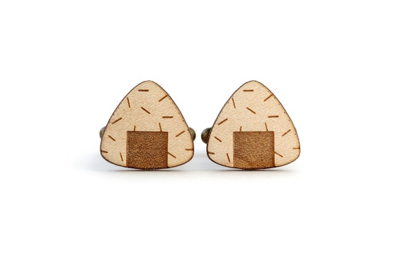 Onigiri cufflinks - asian food cuffs - sushi accessory - Japan - lasercut maple wood - jewelry for the groom - bestman - wedding accessory