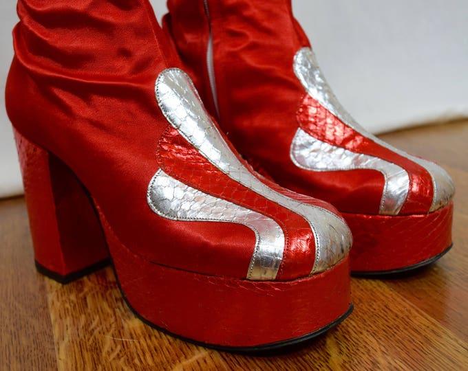 Vintage 1970's Women's HUGE PLATFORM TaLL Red Satin & Silver Metallic Snakeskin DiScO David Bowie Rock Star Stomper BooTs