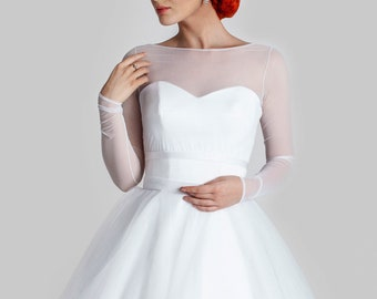 Bridal Top Tulle Bolero Full