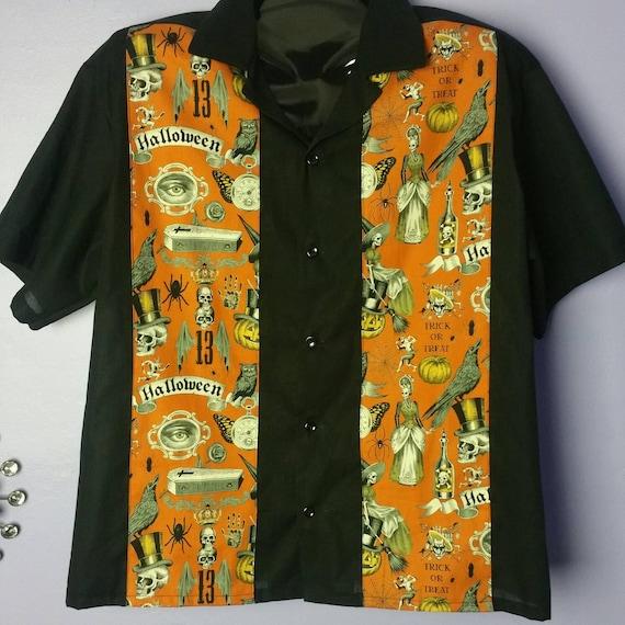Men's Retro Nerdy Button Up Halloween Skull Coffin Crow Witch Spider Web print Camp Shirt. E6br6Y3w