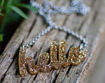 Hello Necklace. Gold Glitter Acrylic. Free Shipping. Quirky Word Necklace. Quote Minimalist.