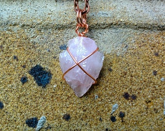 Arrowhead rose quartz pendant/raw style/back to the roots/spiritual jewelry/unique necklace