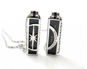 Couple Fall in Love Moon Star Lover Pendant Necklace Chain Jewelry Steel (1 Pair) #C15