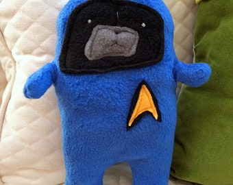 Bones - Dr. PugCoy - The Star Trek Black Pug Bummlie ~ Stuffing Free Dog Toy ~ Ready To Ship Today