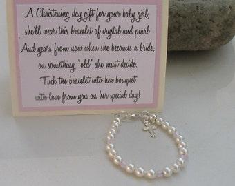 Baptismal Bracelet, Christening Bracelet, Baby Bracelet, Religious Jewelry, Baby Gift, Baptism Gift, Christening Gift, Gift for Christening