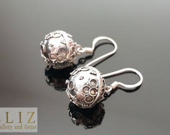Sterling Silver 925 Angel Sound Ball BELL Earrings