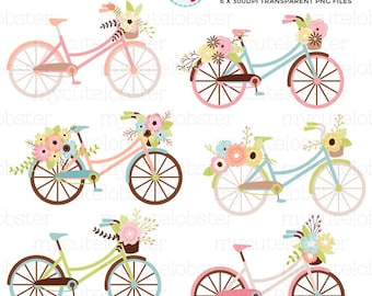 Floral Bicycles Clipart Set - flowers, bikes, clip art, wedding, vintage, rustic - personal use, small commercial use, instant download