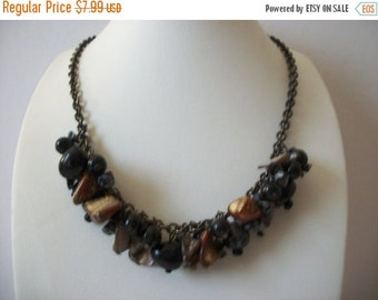 ON SALE Vintage Shell Chips Cluster Plastic Nuggets Necklace 102716
