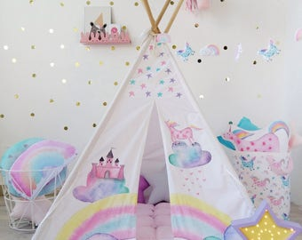 Kids Tepee with Castle and Unicorns, Tipi with poles, Unicorn decor, Teepee for girl, Kids indoor outdoor playtent, Wigwam, kids teepee tent