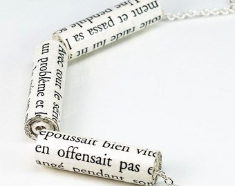 Paper Bead Jewelry- French Upcycled 3 Paper Bead Necklace, French Jewelry, Simple Necklace, Book Lover Gift, Paper Jewelry by Tanith Rohe