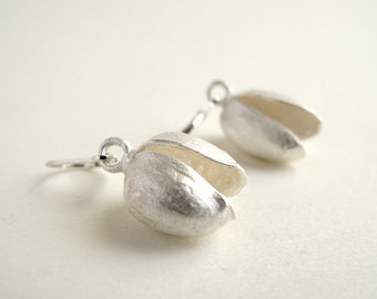 Pistachio Earrings Sterling Silver Earrings Cast From Natural Pistachio
