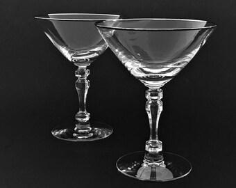4 Vintage Crystal Martini Glasses Silver Rim Cocktail Glasses Tiffin Stemmed Bar Glasses