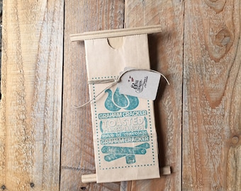 S'mores Favor Bags - Hand Stamped in TEAL - 6 Favor Bags - Campfire Bonfire Outdoor Party - Ready to Ship