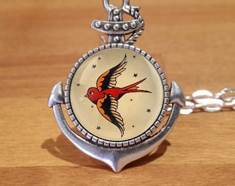 Sailor Jerry Swallow Necklace, Swallow necklace, tattoo necklace, Silver necklace, Anchor setting (1sa)