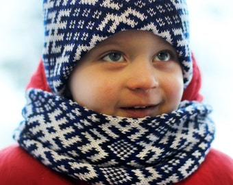 Children's Beanie Hat and Scarf Latvian design infinity scarf folk pattern circle scarf wrap it double as a cowl Kid Scarf Kid Beanie