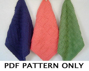 Knitting Pattern - Dishcloth Knitting Pattern - Washcloth Pattern - Knitted Dishcloth Pattern - set of 3 designs - the WASHCLOTH TRIO