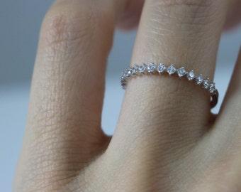 14K solid gold half eternity band, 14K eternity band, half around CZ band, 14K engagement ring, 14K CZ Diamond Ring,eternity ring,