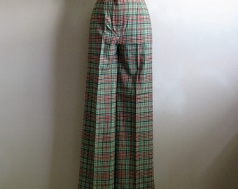 80s Plaid Bell Bottom Pants Vintage 1980s Green Black Wool Blend Pants Small