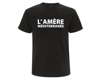 Black unisex organic cotton T-shirt the bitter Mediterranean gift fathers day birthday Christmas Valentine's day