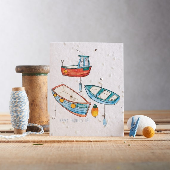 Happy Father's Day - Card for dad - Fishing card - dill seeds - plantable paper - plant the card - seed card boats and fish - fishing fun