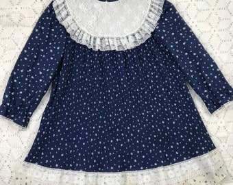 6x vintage girls dress / navy pleated / girl frock / AS IS