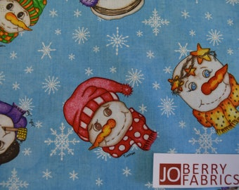 Snowmen from the Flaky Friends Collection by Tana Mueller of Western Denium and Dirt for Blank Quilting.  Quilt or Craft Fabric by the Yard.