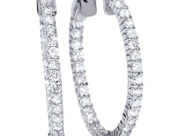 Diamond Hoops 1.05CT Diamond Inside Outside Hoops 14K White Gold