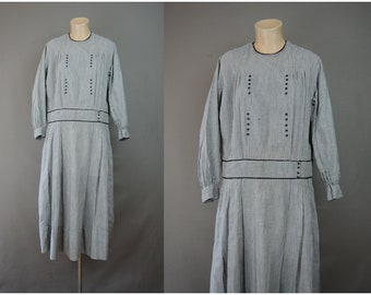 Vintage 1920s Dress Gingham Cotton, 38 inch bust, Black & White Day House Dress