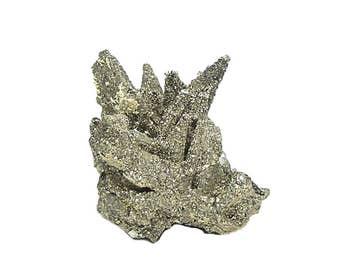 Pyrite Pseudomorphing Pyrrhotite, Expert Collector Mineral Specimen Mined in Mexico, Golden metallic druzy spikes Vintage Geo Display Stone