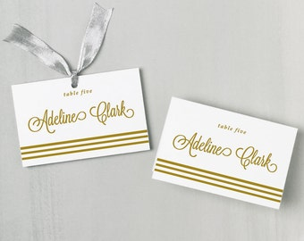 Printable Place Card Template | INSTANT DOWNLOAD | Gold Script | Escort Card | Editable Colors | Mac or PC | Word & Pages | Flat or Folded